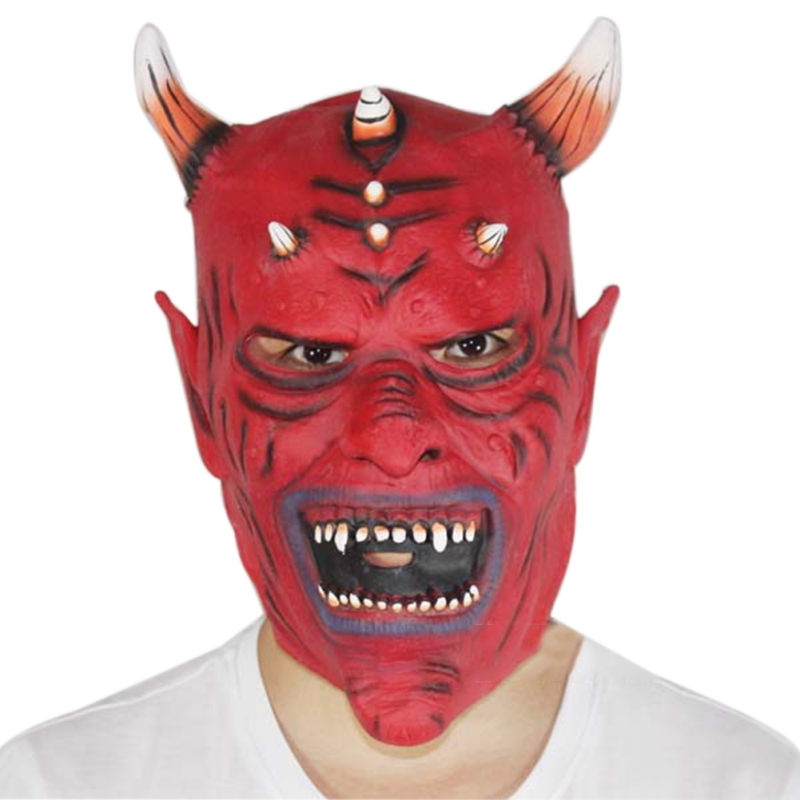 2017 halloween horror mask devil inferno satan halloween novelty red face adult size party head long - Halloween Novelties Wholesale