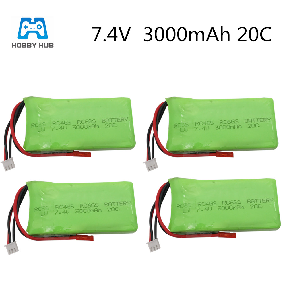 Hobby Hub 7.4V <font><b>3000mAh</b></font> <font><b>lipo</b></font> battery For Radiolink RC3S RC4GS RC6GS Battery Li-Polymer batteries <font><b>2S</b></font> <font><b>Lipo</b></font> Battery 7.4 v 3000 mah image