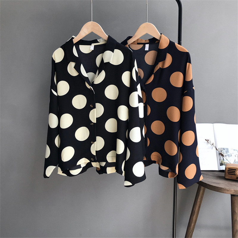 Autumn Big Dot Women Blouse Shirt 2018 Long Sleeve Women Chiffon Blouse Casual Shirts Wome