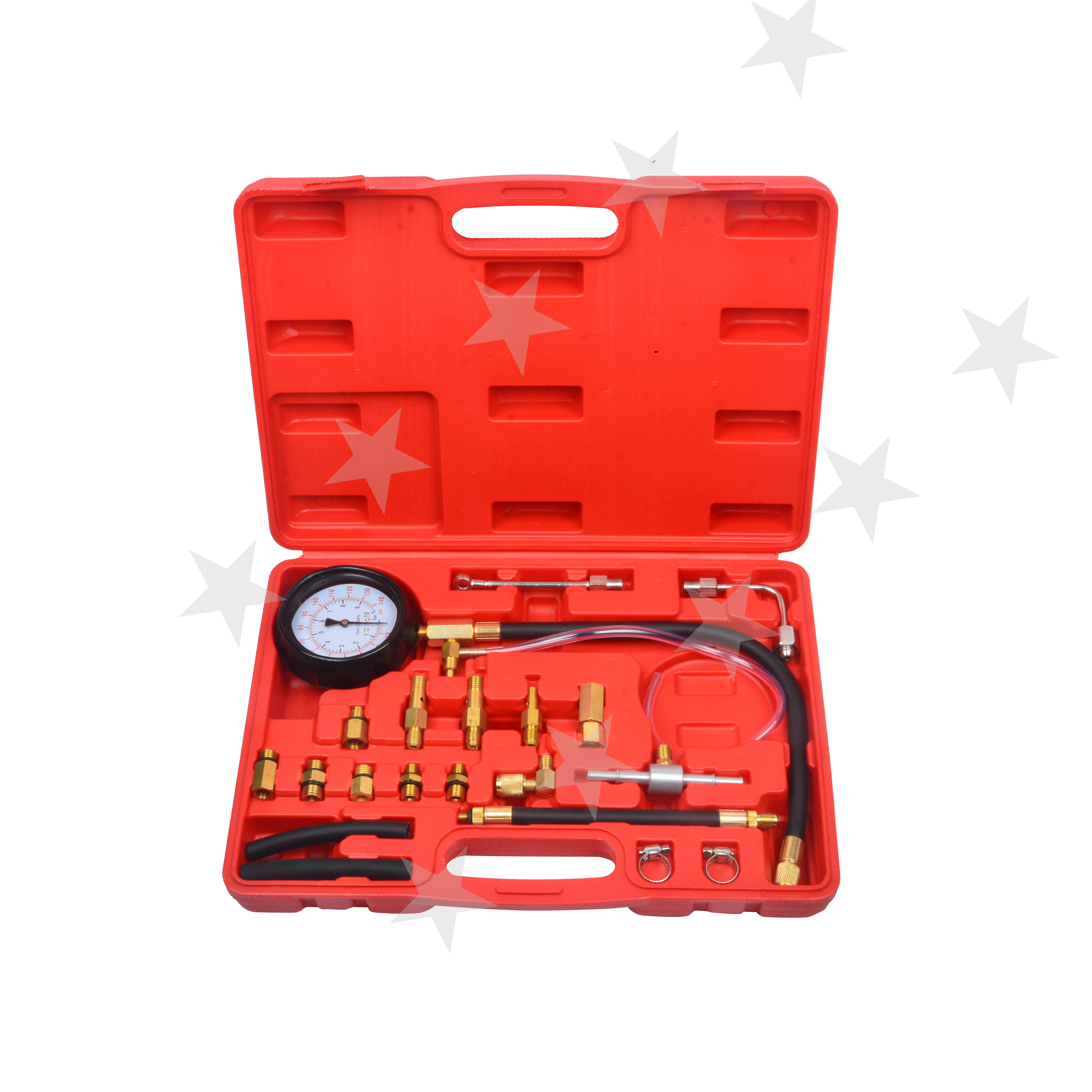 0-140PSI Fuel Injection Pump Pressure Test Injector Tester Pressure Gauge Kit For Most Of Cars And Trucks