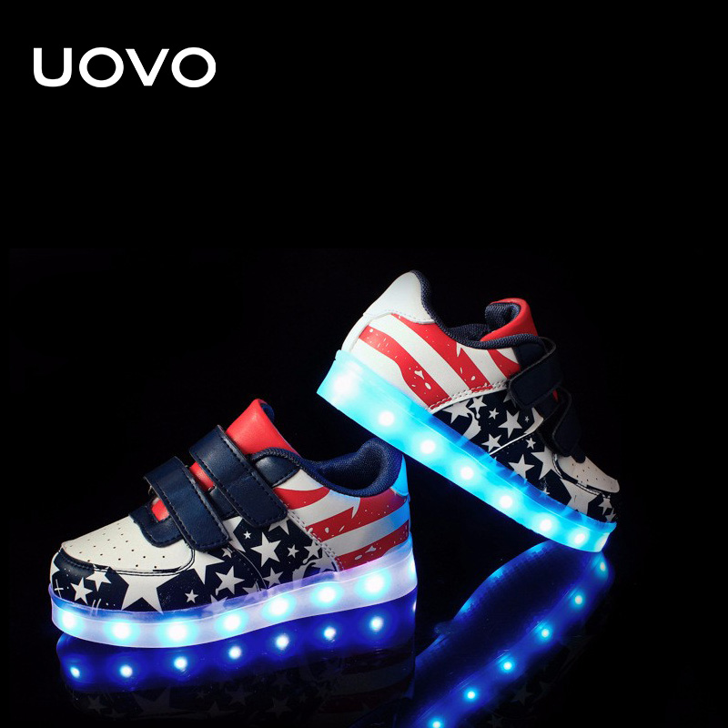 UOVO LED Luminous Shoes kids usb charing boys outdoor sport shoes toddler glowing shoes casual sneakers lights Eur25-35#