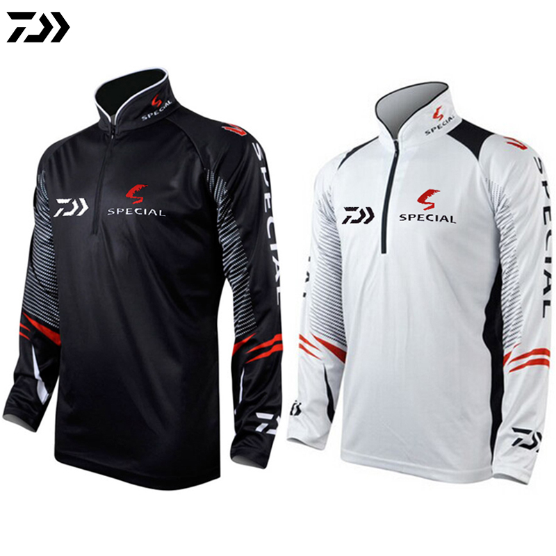 DAIWA Black White Fishing Clothing Men Plus Size 5XL Summer Breathable Dry Sun UV Protection Sportswear Outdoor Fishing Shirts