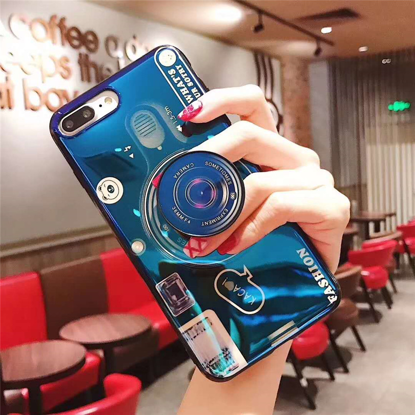 Blue Ray Camera Case For <font><b>Xiaomi</b></font> <font><b>Redmi</b></font> Note 7 7A 8 Pro 4 4X Case Mi CC9 9T K20 Pro A3 Lite Luxury Stand Holder Soft Silicone Case image