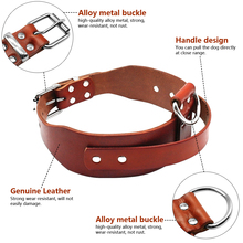 Heavy duty Brown Leather Dog Training Collars with Handle For Medium Large Dogs Pitbull Doberman Neck Size 17-21″ Adjustable