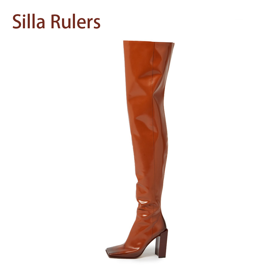 Silla Rulers 2018 New Boots Over the knee squared toe block heel fashion patent leather vintage bootie runway stage bota women peter block stewardship choosing service over self interest