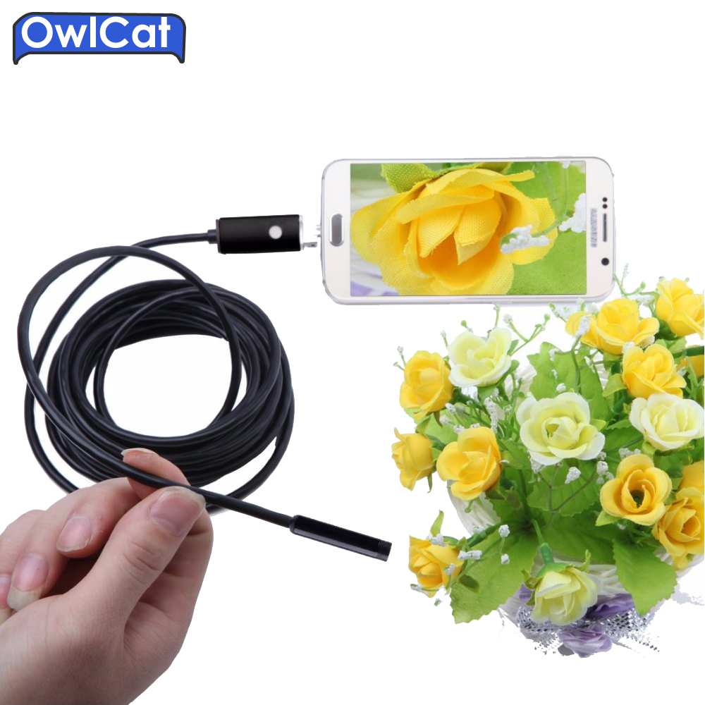 OwlCat USB Snake Endoscope Camera Waterproof IP67 Underwater Tube Inspection Borescope HD 720P MINI Cam 5.5MM Lens 2M 5M Android