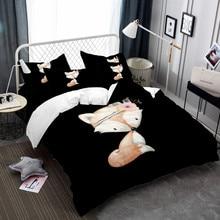 Yellow Fox Bedding Set Queen King Head Flower Bed Linens Cartoon Duvet Cover Set Pillowcase Flat Sheet Animal Bed Cover 3/4Pcs