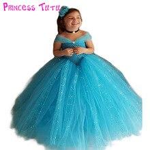 Принцесса Туту голубой цвет Золушка Вечеринка платье с пайетками ботильоны  Длина блеск бальное платье платье-пачка с H 45f9d7bcfda