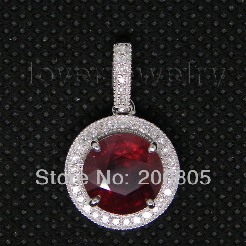 Vintage Rubi Pendant In Solid 14Kt White Gold Diamond Red Ruby Pendant Round 9mm WP022