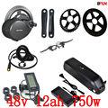 48 v 750 watt BBS02B Bafang mitte antrieb elektrische motor kit + 48 v 12AH 750 watt batterie 48 v 12AH hailong elektrische fahrrad batterie