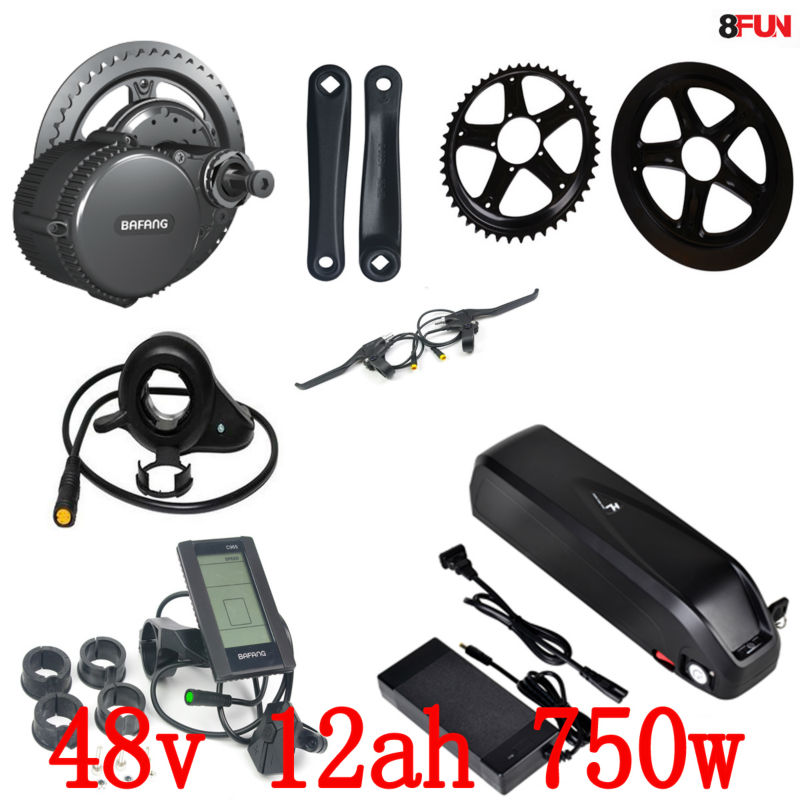 цены 48V 12Ah 750W 1000W Li-ion Down tube E-bike Battery lithium battery and BBS02 Bafang/8fun 48V 750W Mid Drive Electric Motor Kits