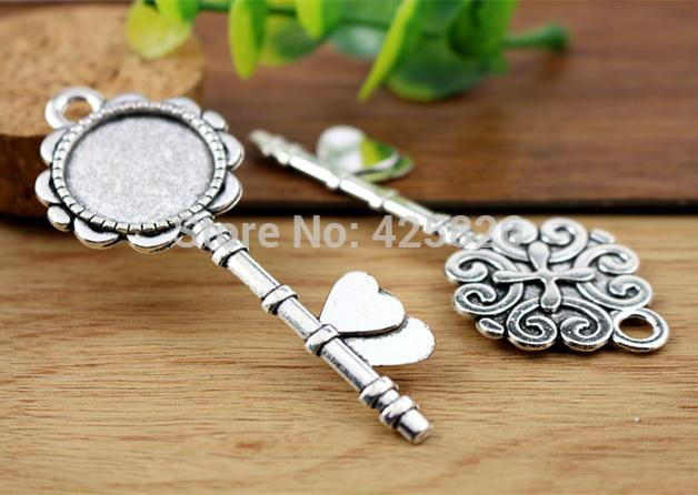 5pcs 20mm Inner Size Antique Silver Classic Style Cabochon Base Setting Charms Pendant (D2-04)
