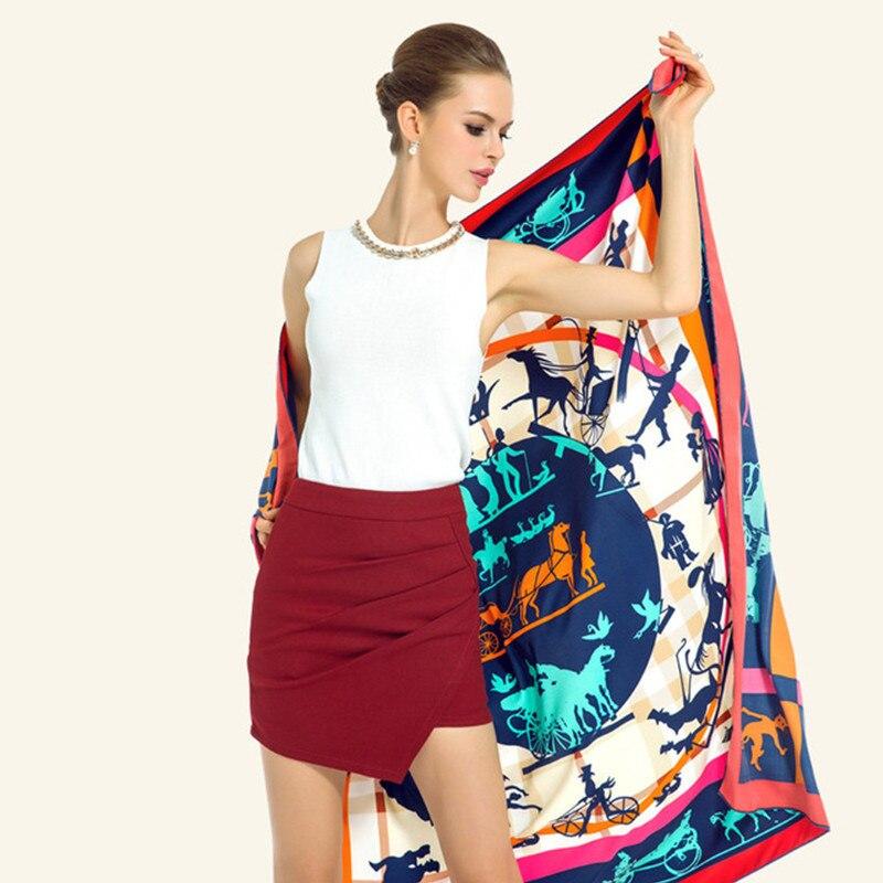 Large 100% Twill Silk Women Scarf Kerchief Euro Design Girl Carriage Print Square Scarves Luxury Brand Silk Shawl Wraps Echarpe silk