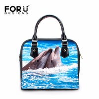 FORUDESIGNS Cool Dolphin Women S Leather Handbags Stylish Ladies Tote Shoulder Bags 3D Printing Cross Body