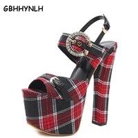 GBHHYNLH סנדלים לנשים סנדלי קיץ אישה נעלי חתונה פלטפורמה עבות עקבים סופר גבוהים משאבות סנדלי יהלומים מלאכותיים סנדלי LJA112