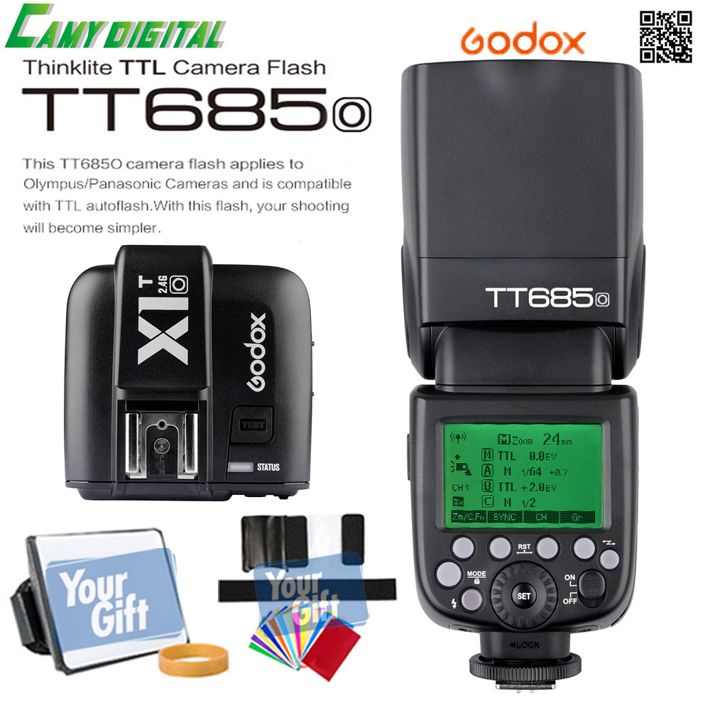 In the Stock Godox TTL TT685O Camera Flash 2 4G wireless HSS 1 8000s GN60 X1T