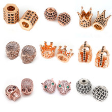 Metal Micro Pave Cubic Zirconia Tube Square Skull Leopard Crown Round Loose Spacer Beads for Jewelry Making DIY Bracelet Charms(China)