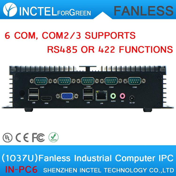 2015 new arrival IPC industrial automation control fanless Industrial Computer with 6 COM COM2 3 supports RS485 422 functions