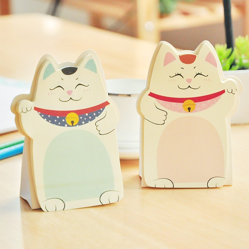 Kwaii Fortune Cat Memo Pad Table Notes Stationery Office Supplies School Supplies Creative Notebooks Writing Pads
