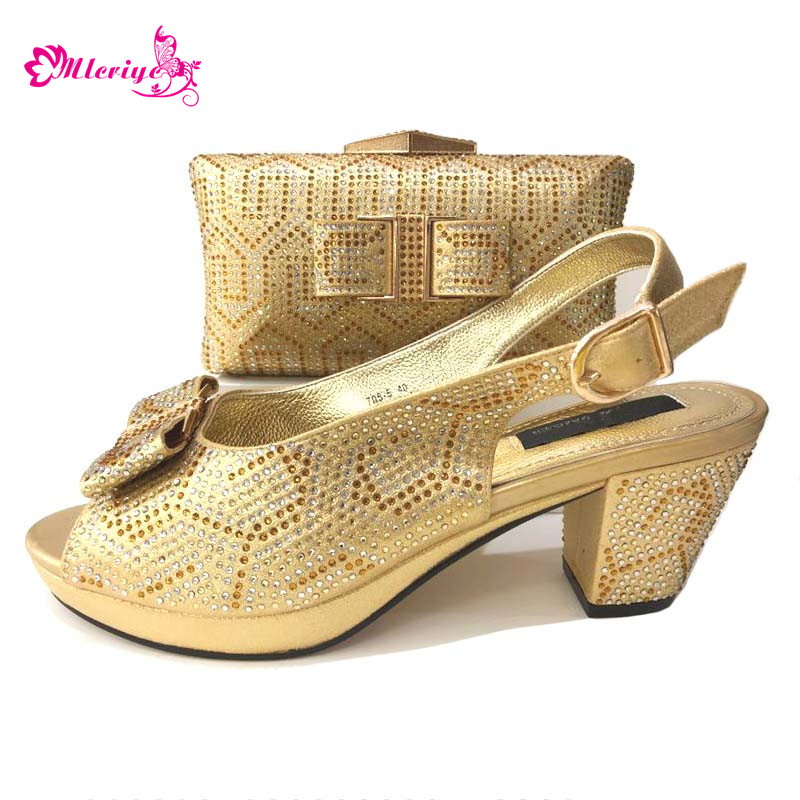 Golden Color Short Pumps 5cm Comfortable Fashion African Wedding In Italian design shoes and bags to match shoes with bag set fashion shoes and bags to match italian design for lady good material in retail and wholesale free shipping mjt1 13