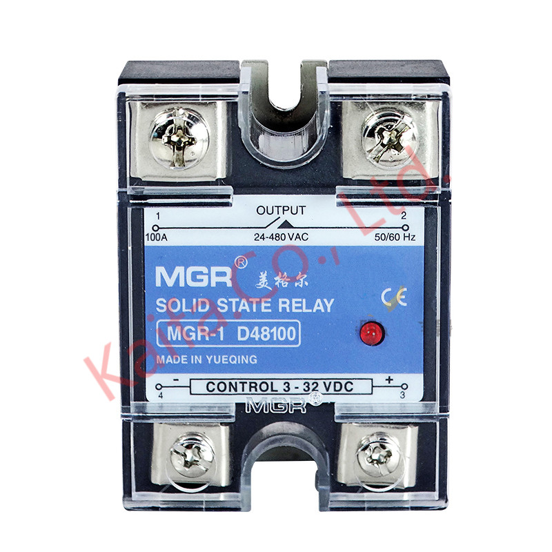 Mager SSR-100A DC-AC MGR-1 D48100 Single Phase Solid State Relay input 3-32VDC output 24-480VAC Control current 3-35mADC dc ac single phase ssr solid state relay 120a 3 32v dc 24 480v ac