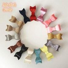 15 Colors Hotsale 30pcs/lot Wholesale Bestseller Glitter Felt Hair Clips Bowknot Baby Shining Barrettes Hair Bows Cute Hairpins