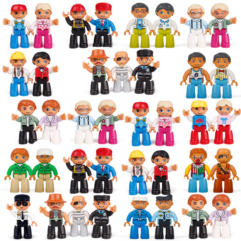 28 Styles Big Size Diy Duplo Hot Action Figures Blocks Compatible With Legoingly Animal Train Brick Toys For Children Brinquedos kid s home toys large particles circus show animal paradise building blocks large size 39pcs diy brick toy compatible with duplo