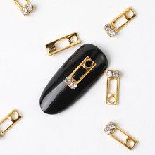 10 pieces beauty glitter nail jewelry charm metal accessories 3D Nail Art decoration rhinestone bead hollow oval newcomers