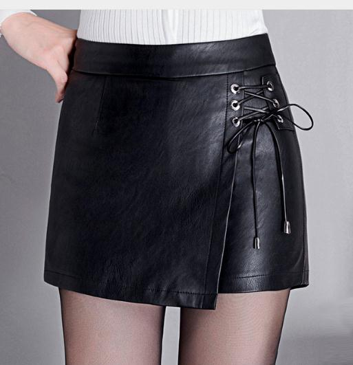 2019 Newest Womens Pu Leather Black Skirt Shorts Large Size Spring And Autumn Female Lace-Up Leather Shorts M/4Xl J2687