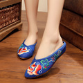 Women's Chinese Old BeiJing Embroidery slippers Pointed toe Floral embroidered sandals linen casual soft slippers size 36-41