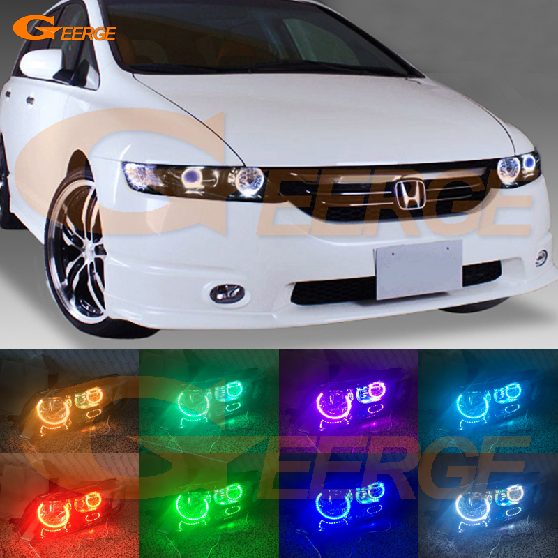 For HONDA ODYSSEY JDM RB1 RB2 2003-2008 XENON HEADLIGHT Excellent Angel Eyes Multi-Color Ultra bright RGB LED Angel Eyes kit outdoor garden decoration waterproof christmas party halloween laser light star projector showers red green static twinkle