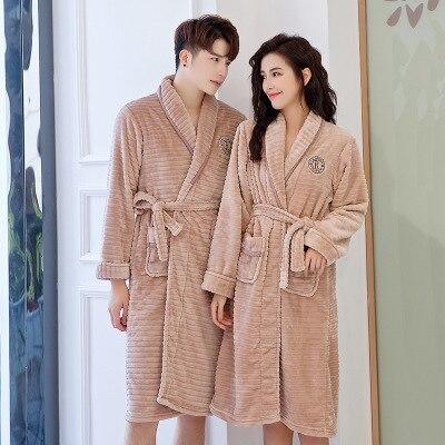Autumn Winter Men And Women Couples Robe Sleepwear Knee Length Bathrobe Thicken Sleepwear Plus Size Loungewear Cute Homewear