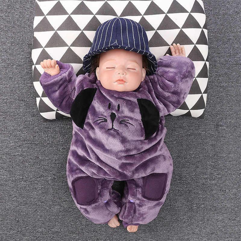 Зимние детские комбинезоны с рисунками Собаки Полный комплект одежды для девочек толстый теплый флис комбинезоны комбинезон для новорожденных младенцев Одежда для маленьких мальчиков