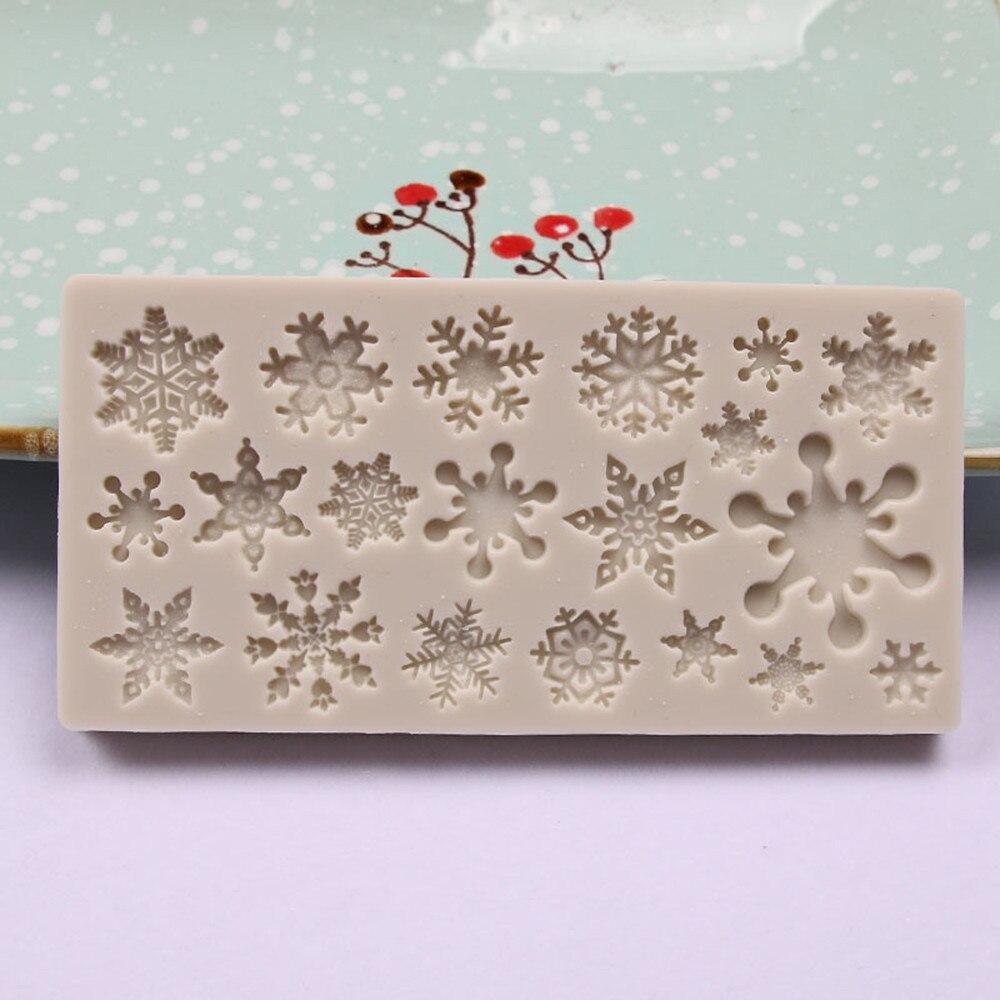 Рождественская Снежинка силиконовая форма шоколадный торт форма для выпечки антипригарные и термостойкие кухонные инструменты ручной работы - Цвет: C