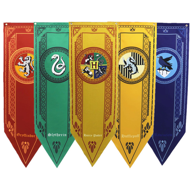 5Pcs/Set Harri Potter Party Supplies College Flag Banners Gryffindor Slytherin Ravenclaw Kids Gift Toys Magic Cosplay Decoration