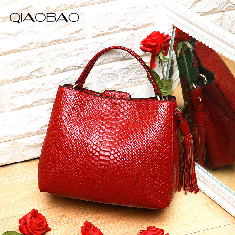 QIAOBAO Luxury Handbags Women Bag Designer Famous Brands Messenger Bag Crocodile Women Bag Handbags Bolsa Feminina Leather Totes genuine leather bag ladies crocodile pattern women messenger bags fashion handbags women famous brand designer bolsa feminina