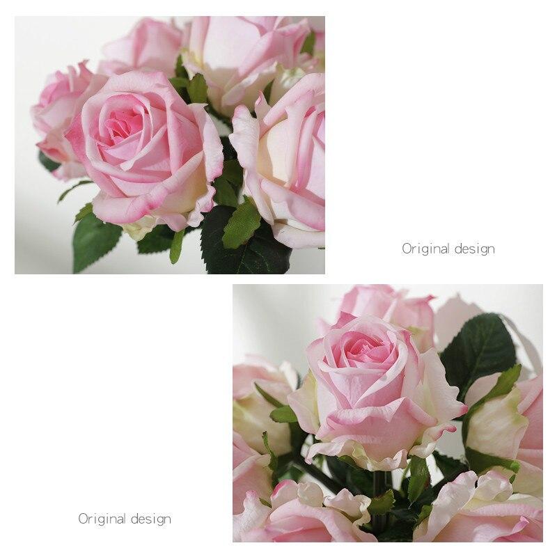 20 см для свадьбы искусственные цветы, шелковые стразы, украшение для дома, букет цветов, растения, Западный Роскошный подарок - 4