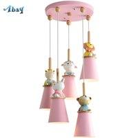 Nordic дом принцессы Животные подвесные светильники E27 Led мультфильм подвесной светильник для детей спальня детская освещенные дома декоратив