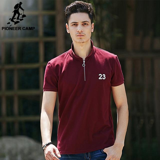 Pioneer camp neue weinrot polo shirt männer marke kleidung mode einfache männliche  polo top qualität casual 9574689261