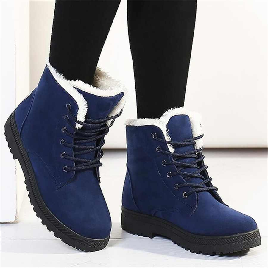 Snow boots 2019 classic heels suede women winter boots warm fur plush Insole ankle boots women shoes hot lace-up shoes woman