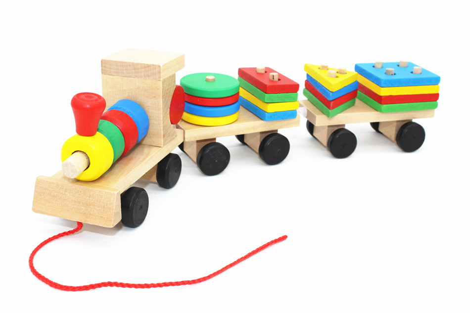 SUKIToy classic wooden models building toys blocks train for children boys Montessori game for kids gift shape matching 1