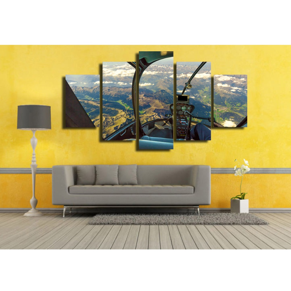 Helicopter canvas wall art abstract print home decor for living room ...