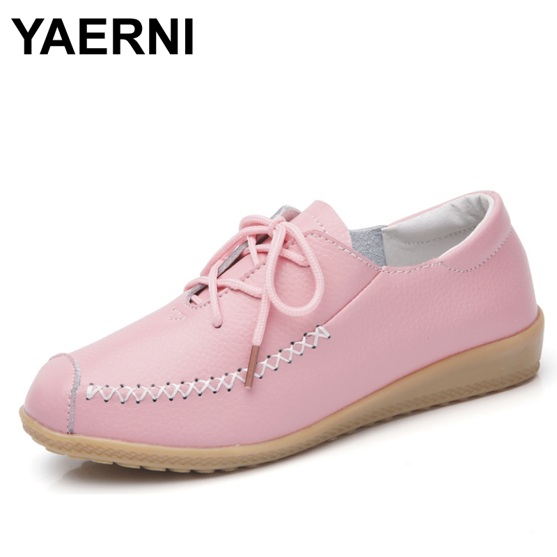 YAERNI   Women Shoes Fashion Flats Loafer Casual Shoes Genuine Cow Leather Soft Bottom Ladies Mother Shoes Moccasins Loafers vintage embroidery women flats chinese floral canvas embroidered shoes national old beijing cloth single dance soft flats