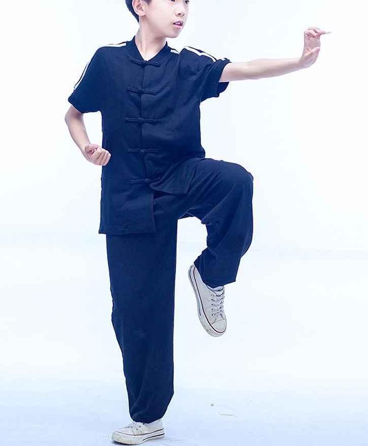 Zomer 4 kleur kids jongens/meisjes Kung fu martial arts uniformen tai chi korte mouwen kleding wushu kostuums blauw /zwart/grijs