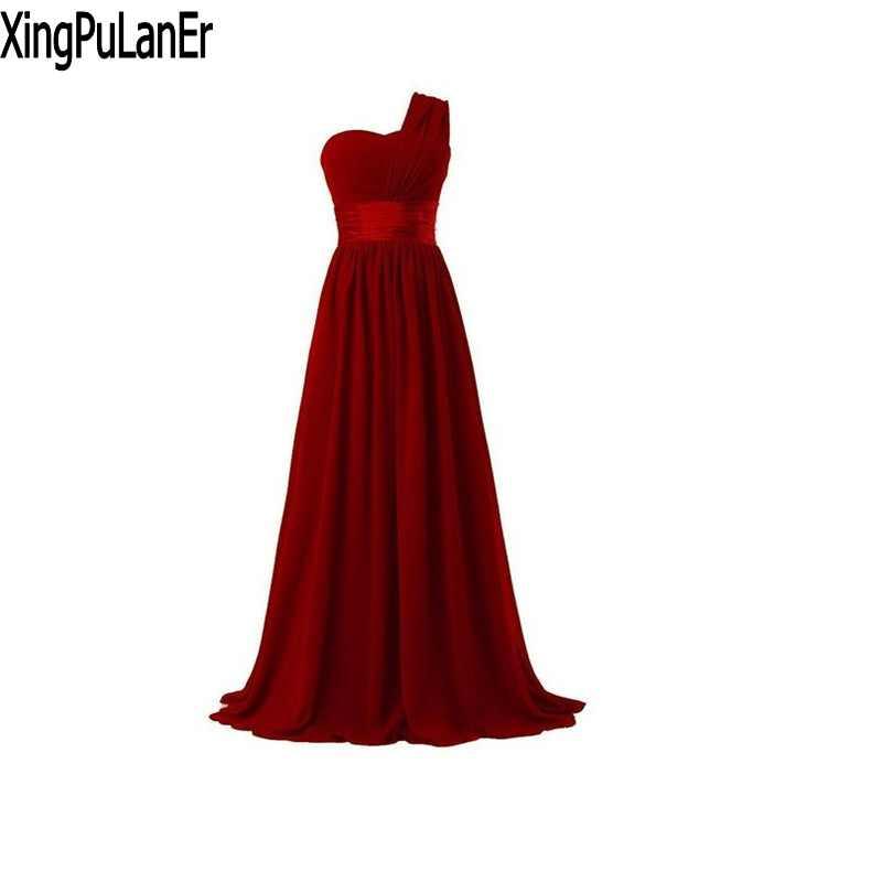 XingPuLanEr robe de soirée une ligne une épaule rouge violet noir bleu mousseline de soie Instock longues robes de soirée