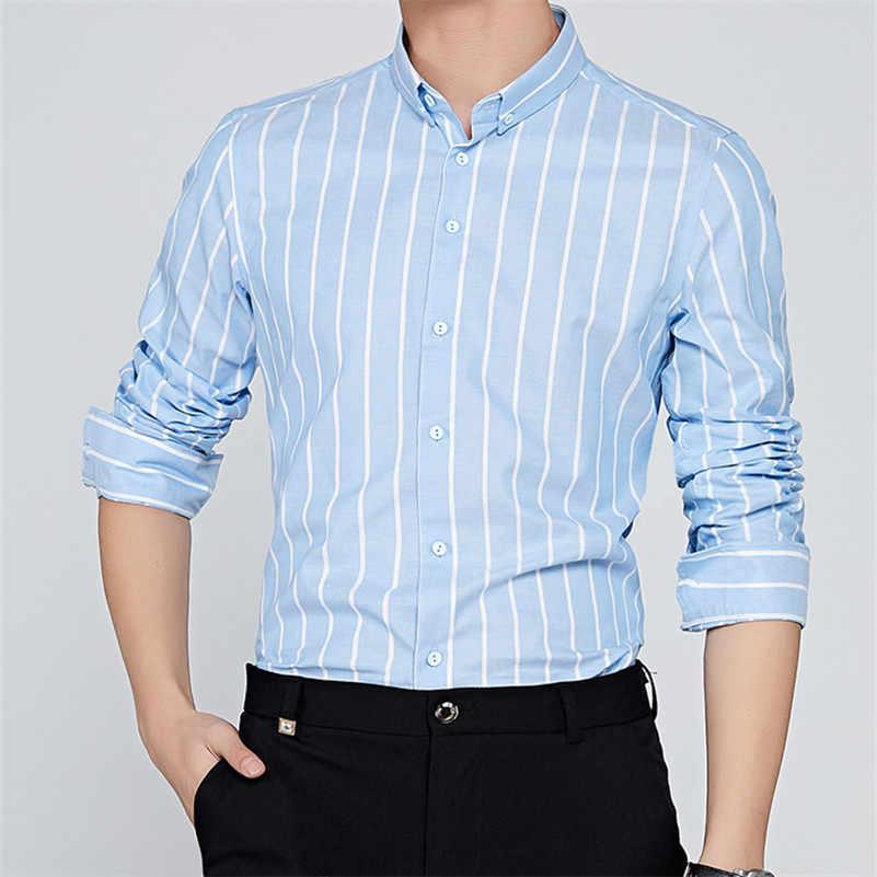 VISADA JAUNA 長袖男性シャツ 2018 夏カジュアルシャツ男性ドレスファッション綿ストライプの場合 n8901