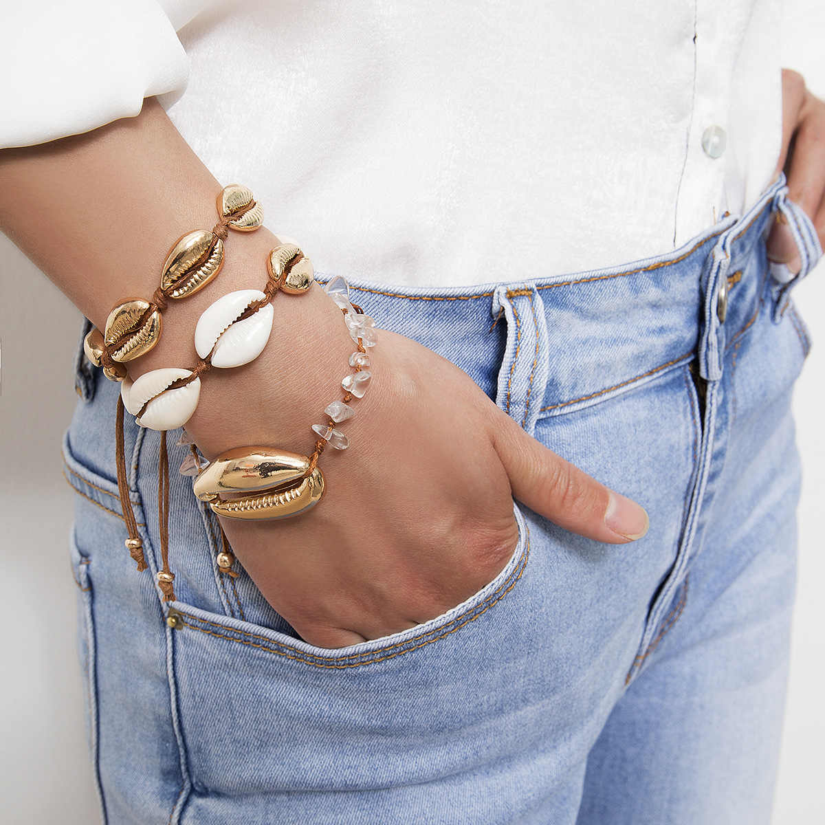 Gold Color Big Cowrie Shell Bracelets for Women Delicate Rope Chain Bracelet Beads Charm Bracelet Bohemian Beach Jewelry