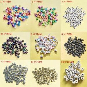 Image 3 - Groothandel Acryl Russische Letters Kralen 4*7MM Platte Ronde Coin Vorm Wit met Zwarte Afdrukken Plastic Alphabet Initial kraal