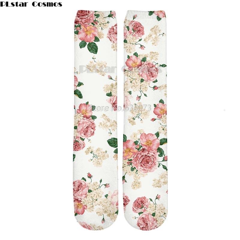 PLstar Cosmos Drop shipping 2018 New style Fashion Knee High Socks Rose / peony vintage flowers Print 3d Men's Women's Sock 1