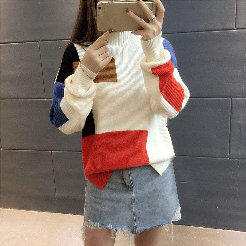 18 Women Sweaters And Pullovers Elegant Turtleneck Sweater Women Jumper Autumn Mixed Colors Knitted Pullover Pull Femme C3682 11
